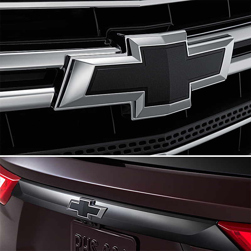 2019 Traverse Bowtie Emblem, Black, Front and Rear